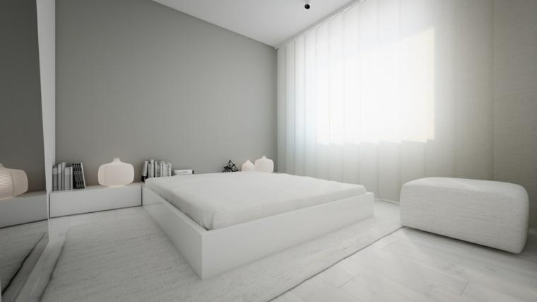 stanza da letto moderna stile minimal parete grigio
