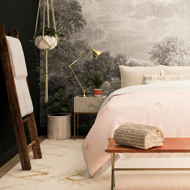stanza da letto piccola scala legno vaso sospeso parete dipinta disegno foresta como lampada