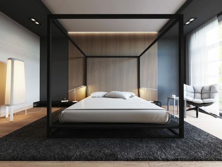 struttura letto legno camera matrimoniale moderna pannelli parete tappeto