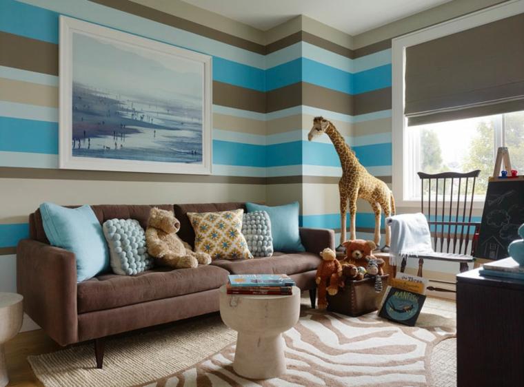 tappezzeria colore bianco blu marrone pareti salone