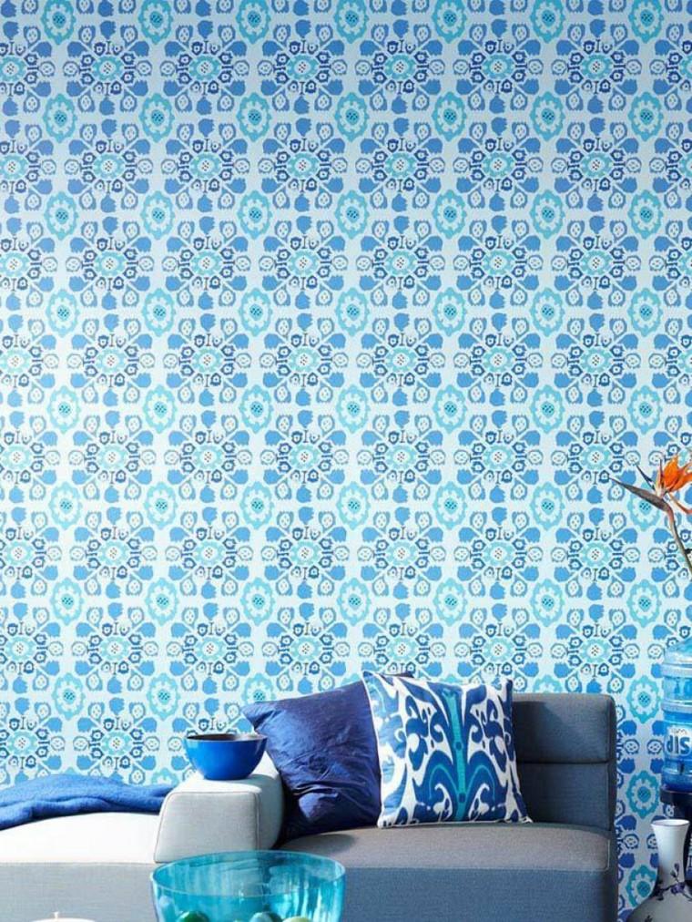 tappezzeria decotativa colore azzurro salone