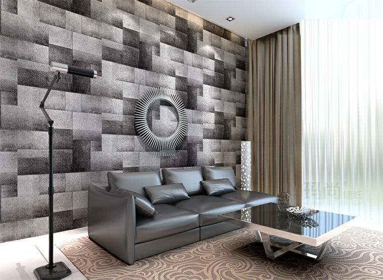 tappezzeria effetto parete pietra salotto