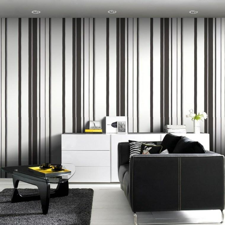 tappezzeria parete bianco nero salotto