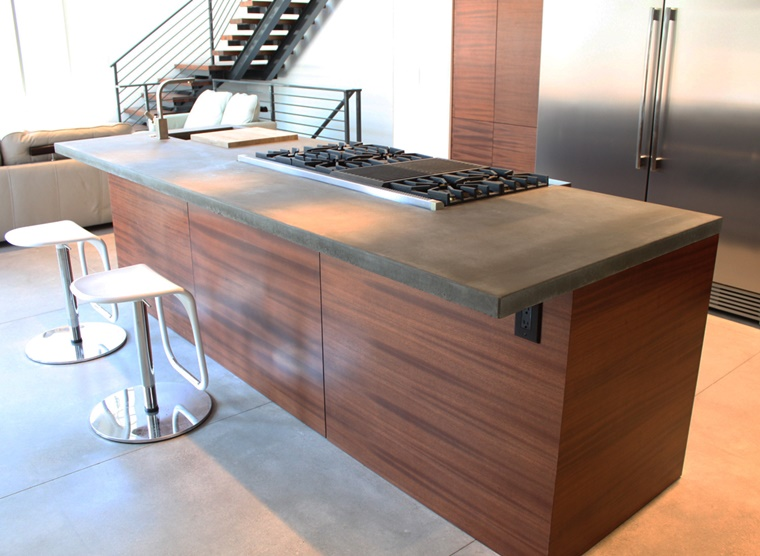 top cucine idea calcestruzzo inserti legno