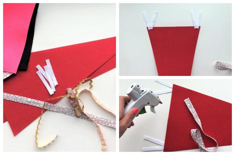 tutorial con pistola per colla a caldo addobbi natalizi per porte triangolo di carta rossa