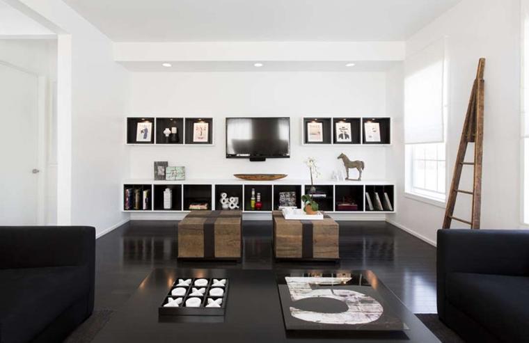 Arredare soggiorno con parete porta tv per schermo piatto for Casa moderna tetto piatto