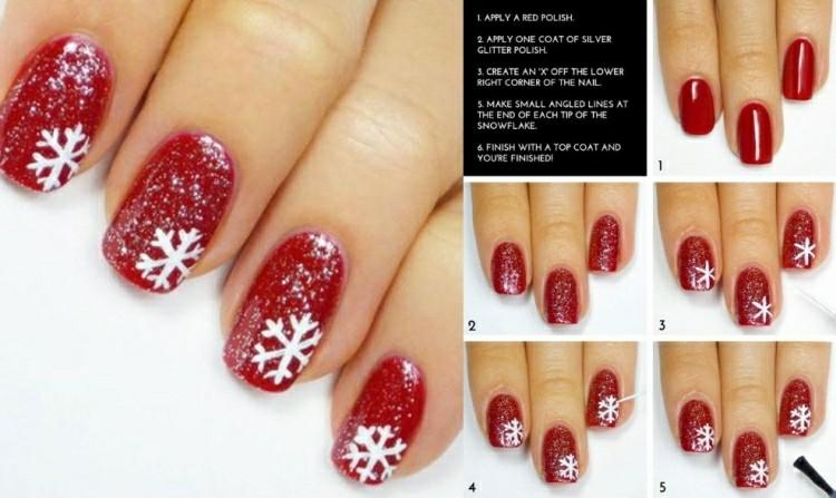 unghie nail art fiocchi neve bianchi