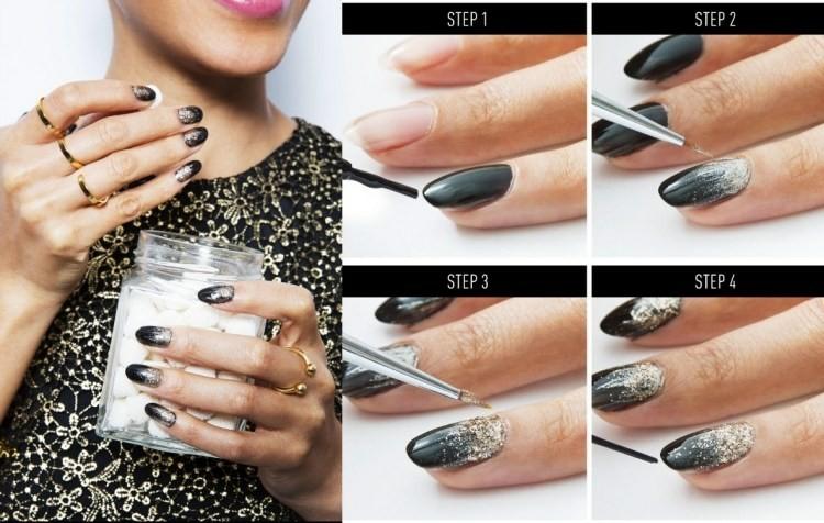 unghie nail art natalizie nero perline argento