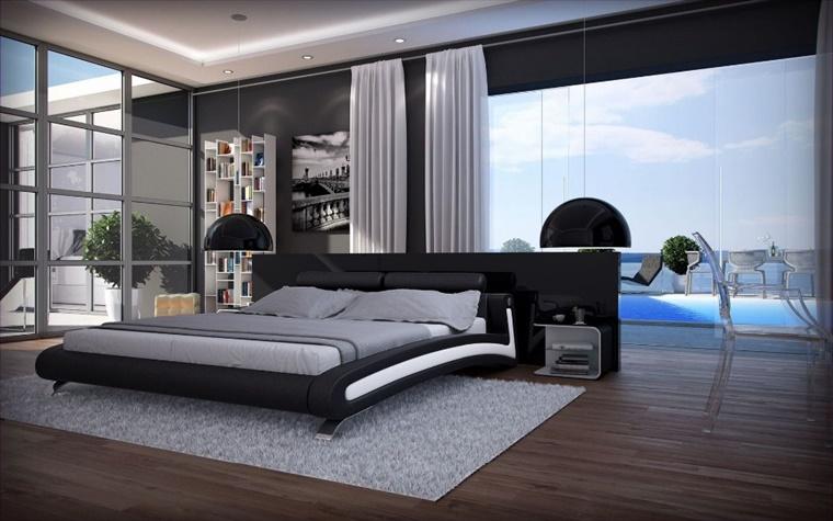 ambiente spazioso letto basso pavimento legno