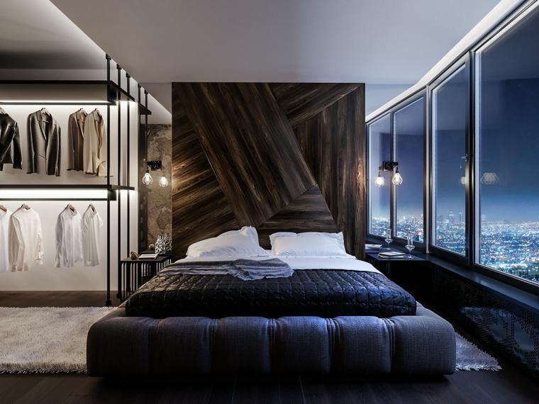 Parete in legno camera, armadio a vita, camere da letto moderne, pavimento in legno
