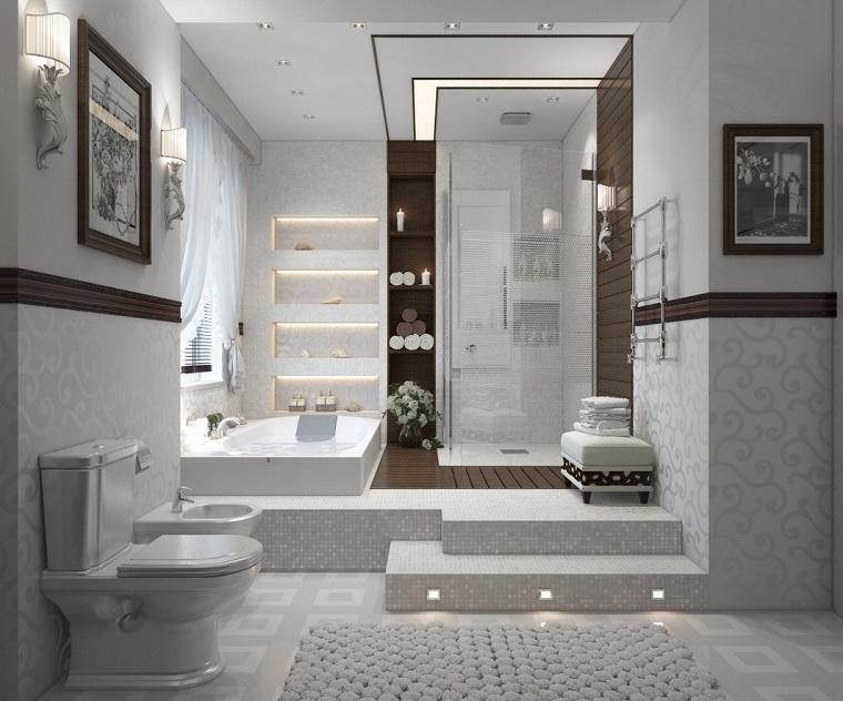 arredamento bagno moderno due livelli
