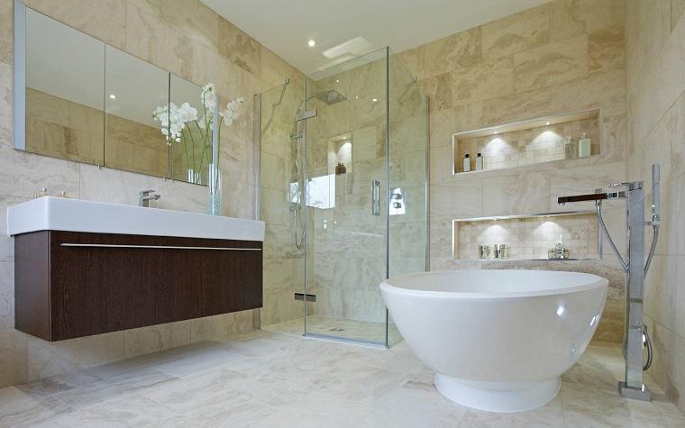 arredamento bagno moderno mobile sospeso vasca rotonda