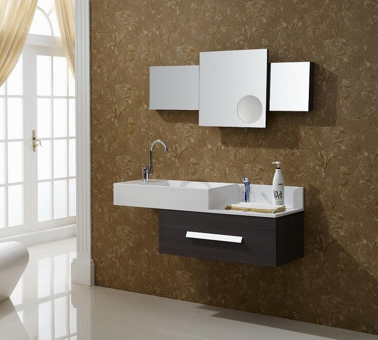 arredamento bagno moderno mobili forma geometrica