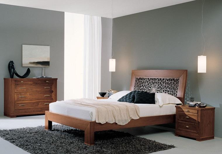 arredamento camera letto contemporaneo mobili legno pareti grigie