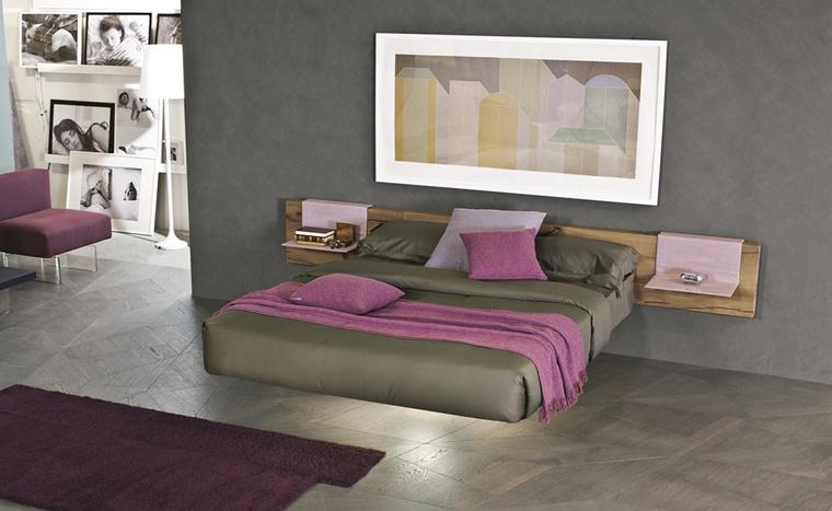 arredamento moderno letto sospeso legno