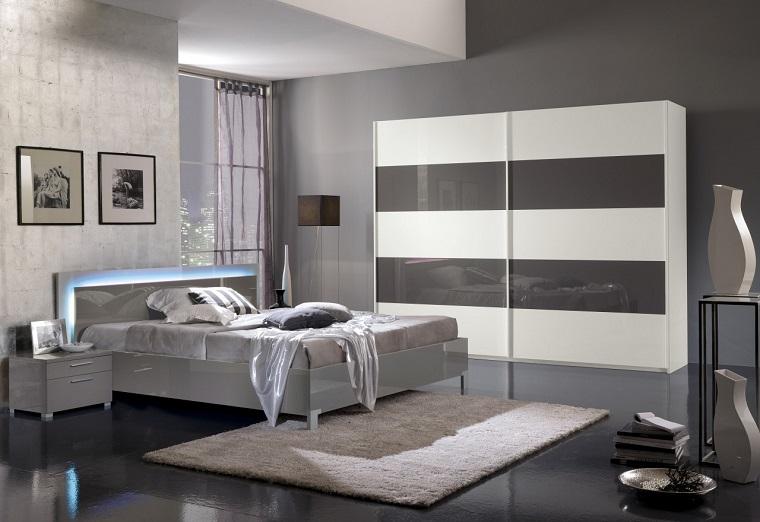 arredamento moderno mobili bianco pareti grigie