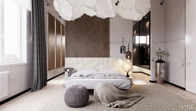 Pareti colorate camera da letto, parete in legno, lampadario bianco in tessuto, tende per finestra