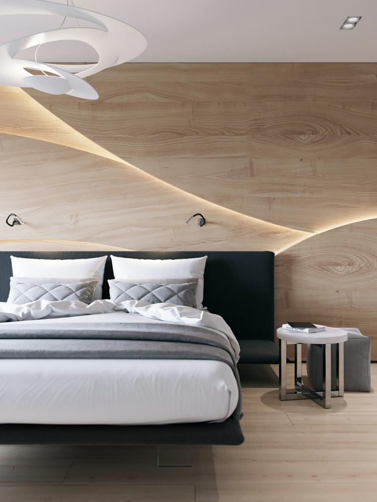 Come arredare una camera da letto piccola, letto con piedino trasparente, parete in legno