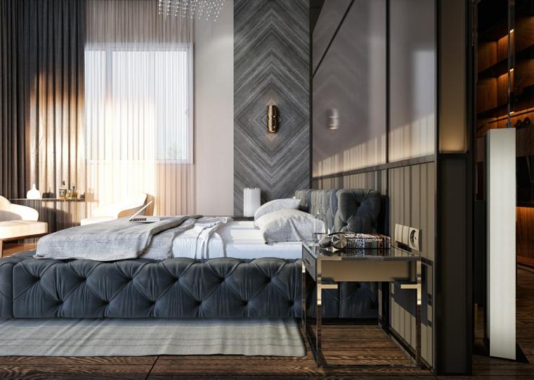 Camere matrimoniali moderne, letto con imbottitura, pavimento in legno, comodino in metallo