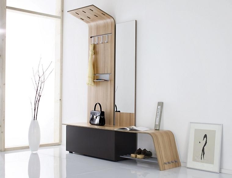 arredare corridoio mobile moderno inserti legno