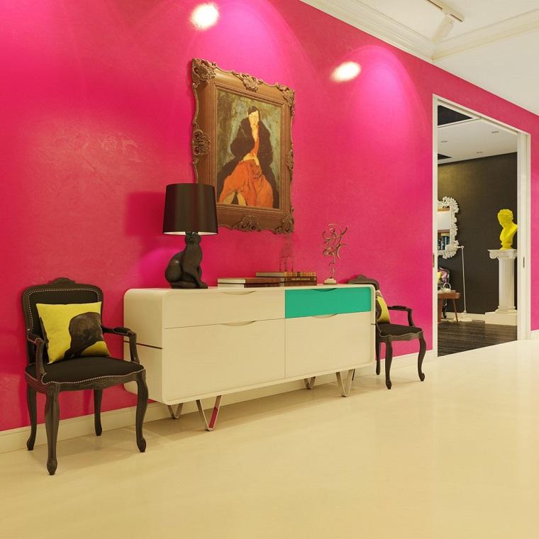 arredare corridoio mobili design contemporaneo parete colore rosa
