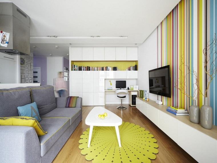 arredare il soggiorno dimensioni ridotte accenti colore giallo
