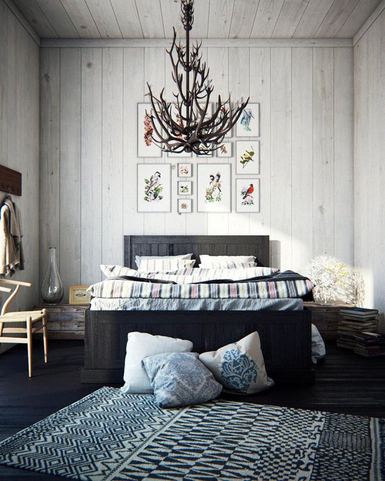arredare la camera da letto stile nordico lampadario sospensione partiocolare