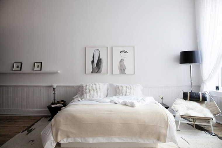 arredare la camera da letto stile scandinavo bianco nero