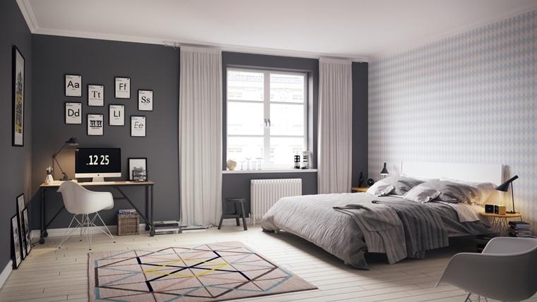 arredare la camera da letto stile scandinavo design geometrico