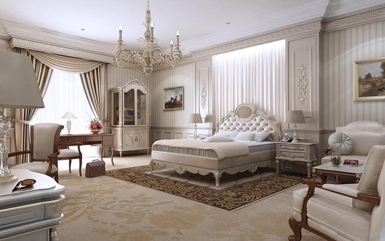 arredare la camera da letto testiera letto imbottita lampadario sospensione