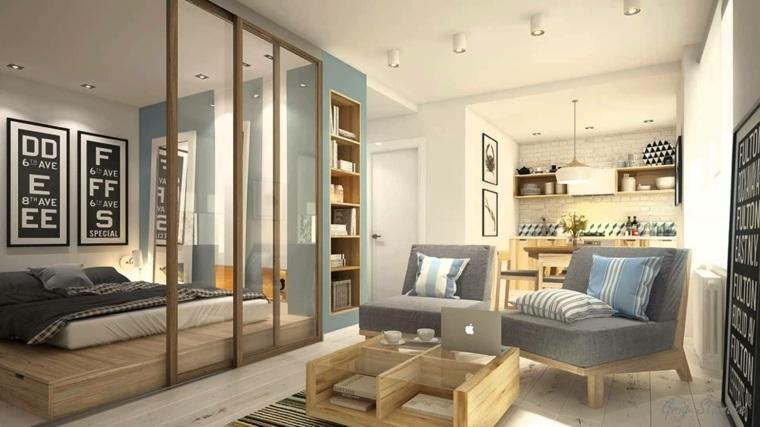 arredare monolocale elementi legno vetro