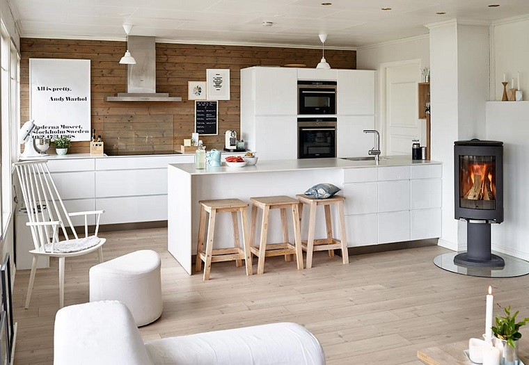arredo cucina bianca moderna open space adorabile