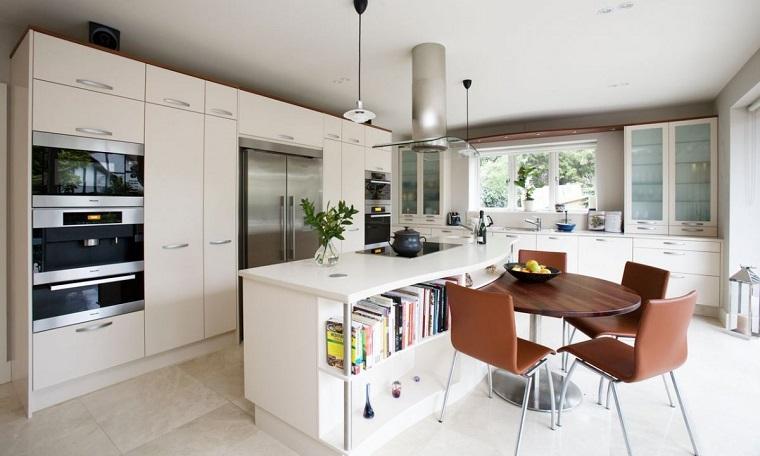 arredo cucina bianca stile moderno tavolo pranzo legno
