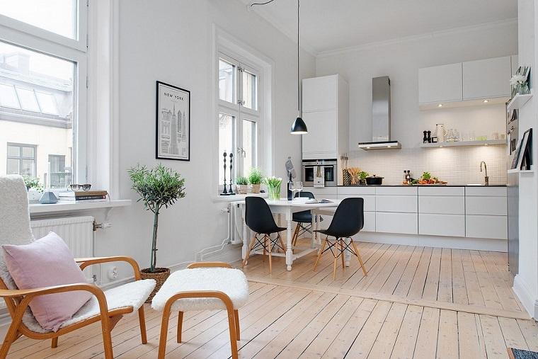 arredo cucina moderna pensili base bianco lucido