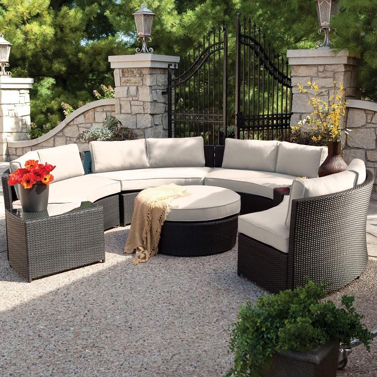 arredo outdoor divano rattan semicerchio