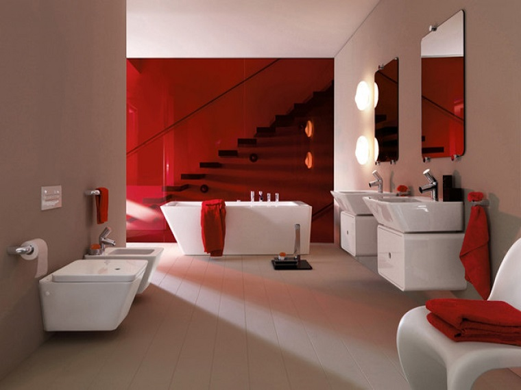 bagni moderni proposta lussuosa tocco rosso