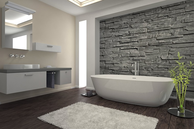 bagni moderni vasca design parete muratura
