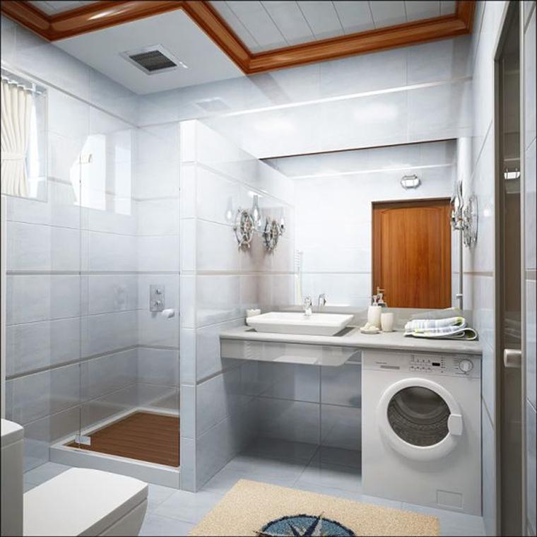 bagno moderno box doccia vetro lavabo appoggio lavatrice