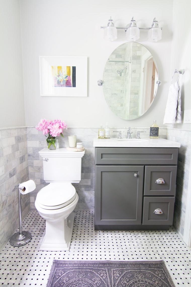 bagno moderno dimensioni piccole water terra lavabo incasso specchio rotondo
