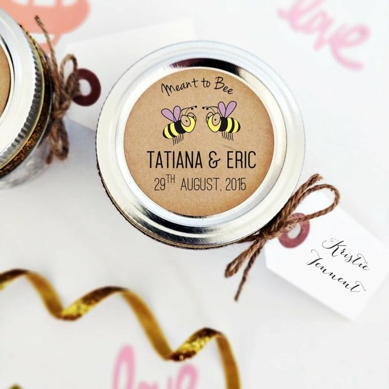 barattolo di miele con etichetta personalizzata regalo fai da te bomboniera matrimonio
