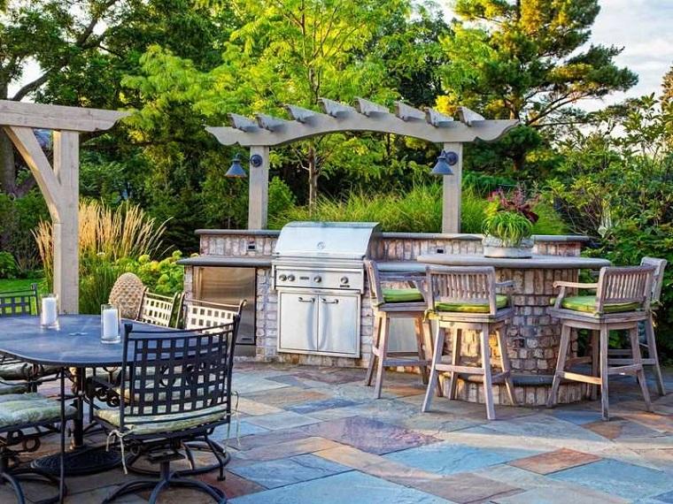 barbecue muratura idea particolare angolo outdoor