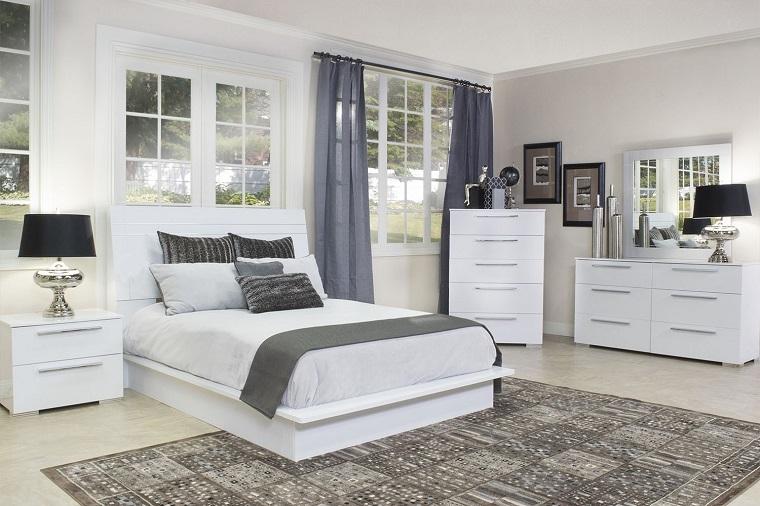camera da letto bianca dettagli neri