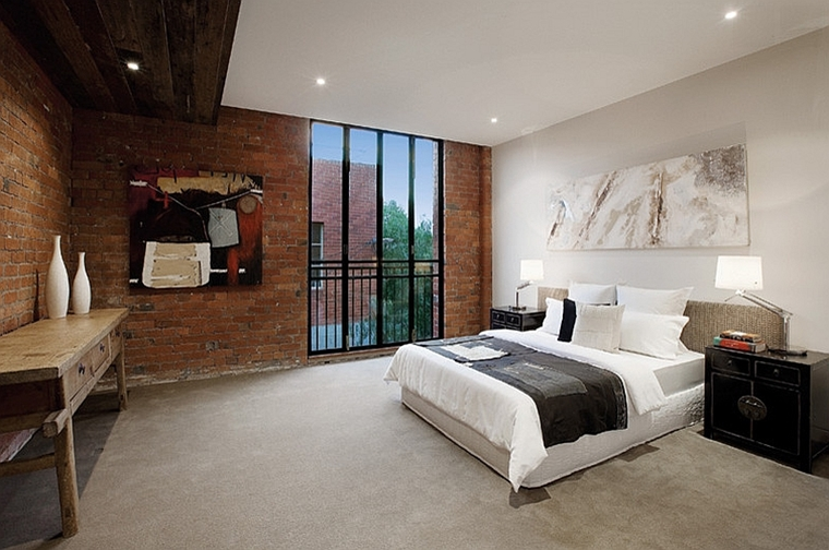 camera da letto industriale elegante stile