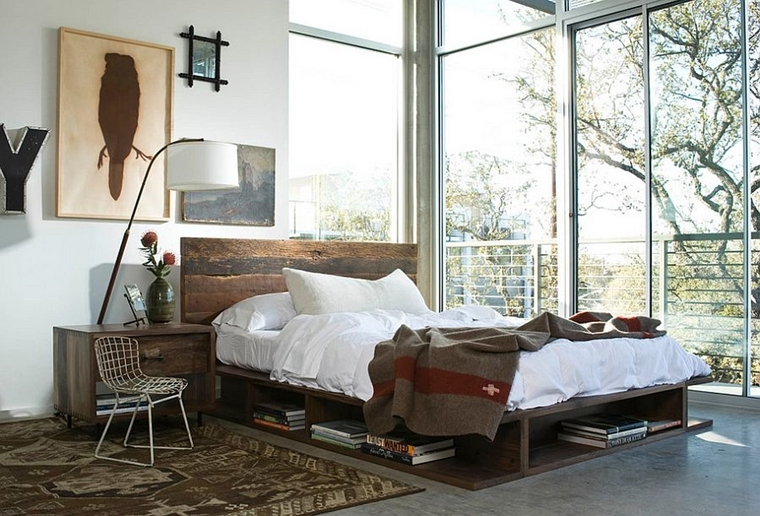 camera da letto moderna letto comodini bancali riciclo