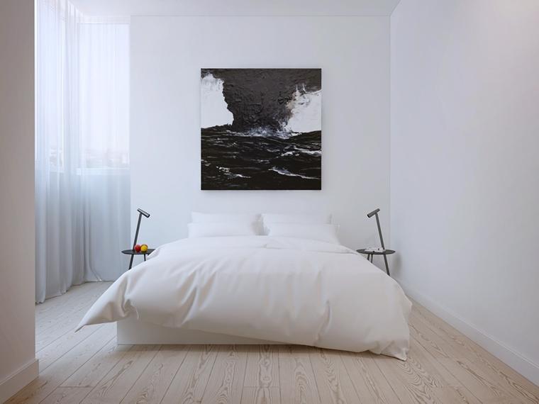 camera da letto stile minimalista pavimento laminato