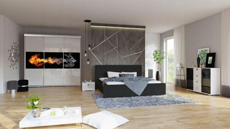 Parete in legno con luci, armadio con disegno, camera da letto con pavimento in legno