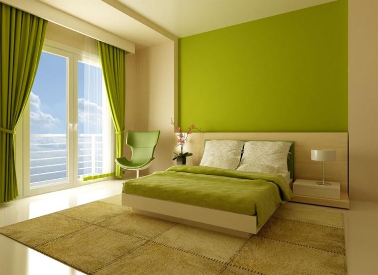 camera letto accenti colore verde