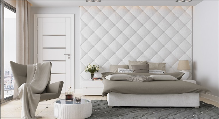 camera letto moderna bianco grigio