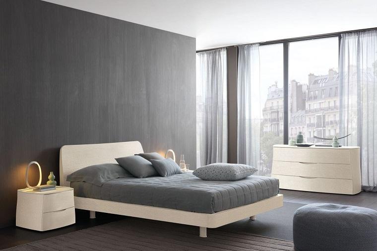 camera letto rovere bianco pareti grigie