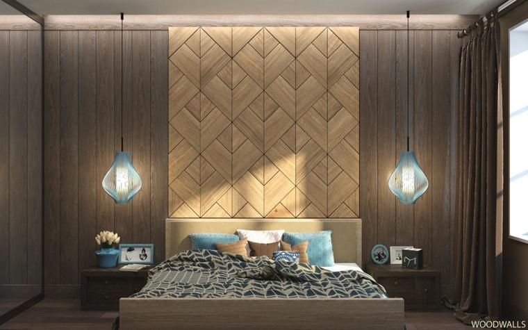 Pare in legno bicolore, lampade sospese, arredare camera da letto moderna